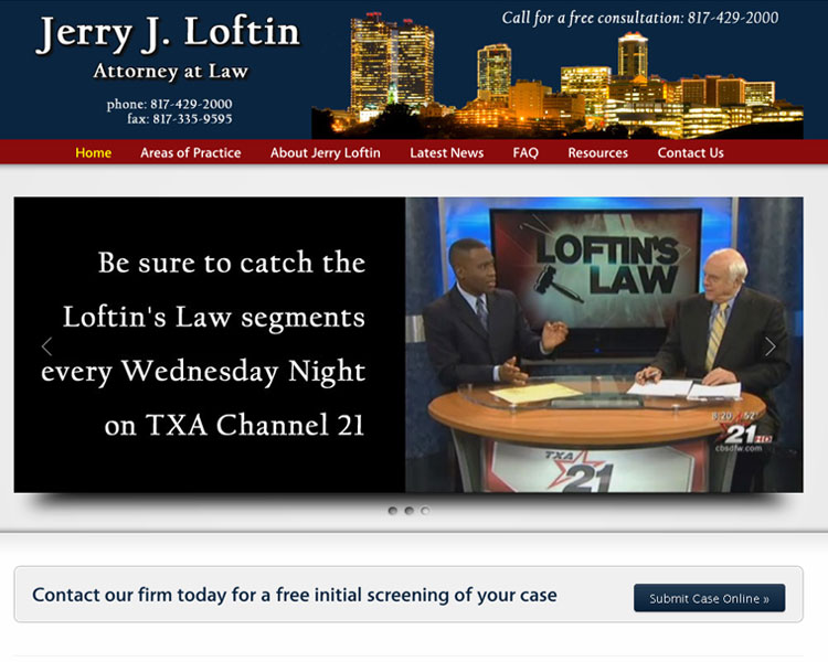 New Website – Law Firm of Jerry Loftin